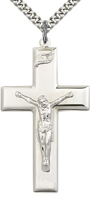 Wide Sterling Silver Crucifix