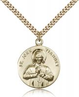 "Gold Filled St. John Vianney Pendant, Stainless Gold Heavy Curb Chain, 1"" x 7/8"""