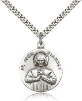"Sterling Silver St. John Vianney Pendant, Stainless Silver Heavy Curb Chain, 1"" x 7/8"""
