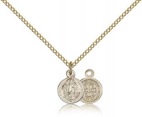 "Gold Filled St. Benedict Pendant, Gold Filled Lite Curb Chain, 3/8"" x 1/4"""
