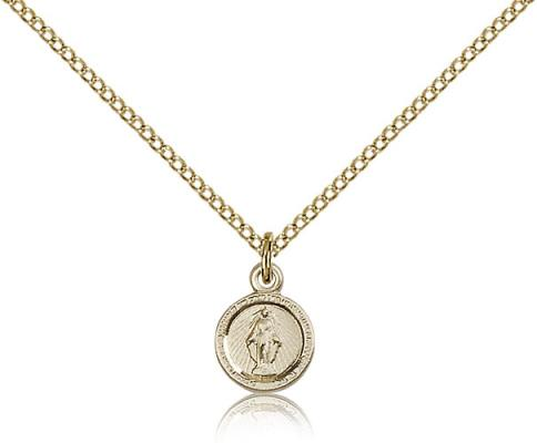 "Gold Filled Miraculous Pendant, Gold Filled Lite Curb Chain, 3/8"" x 1/4"""