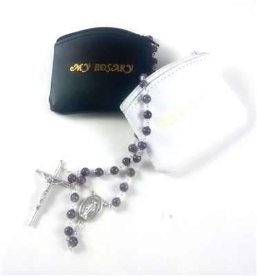 Black Or White Small Genuine Leather My Rosary Pouch