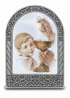 First Holy Communion Boy Standing Desk Plaque