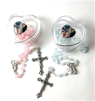 Tiny  Baby Rosary--Heart-Shape Case