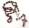 Large Brown Wood Rectangle Bead Rosary 26-0203