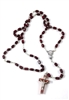 Medium Brown Wood Rectangle Bead Rosary 26-0203-02