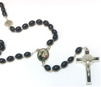 Oval Black Wood Bead Saint Benedict Colored Center-Piece Rosary 26-4401-01