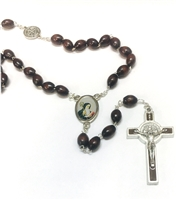 Oval Brown Wood Bead Saint Benedict Colored Center-Piece Rosary 26-4401-02