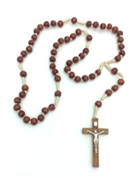 Cord Rosary--Brown wood beads