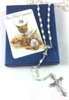 First Holy Communion Rosary and Holy Card Girl Set