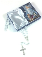 Guardian Angel Blue Rosary with Holy Card Baptism Boy Set