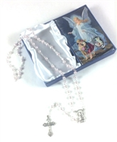 Guardian Angel Pink Rosary with Holy Card Baptism Girl Set