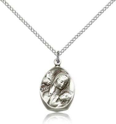 "Sterling Silver Madonna & Child Pendant, Sterling Silver Lite Curb Chain, 3/4"" x 1/2"""
