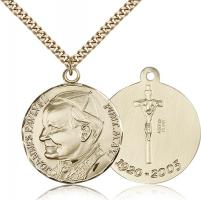 "Gold Filled Pope John Paul II Pendant, Stainless Gold Heavy Curb Chain, 1 1/4"" x 1 1/8"""