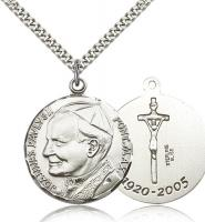 "Sterling Silver Pope John Paul II Pendant, Stainless Silver Heavy Curb Chain, 1 1/4"" x 1 1/8"""