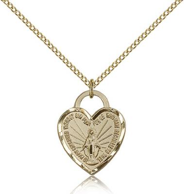 "Gold Filled Miraculous Heart Pendant, Gold Filled Lite Curb Chain, 3/4"" x 5/8"""