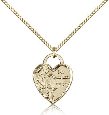 "Gold Filled Guardian Angel Heart Pendant, Gold Filled Lite Curb Chain, 3/4"" x 5/8"""