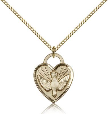"Gold Filled Confirmation Heart Pendant, Gold Filled Lite Curb Chain, 3/4"" x 5/8"""