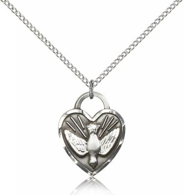 "Sterling Silver Confirmation Heart Pendant, Sterling Silver Lite Curb Chain, 3/4"" x 5/8"""