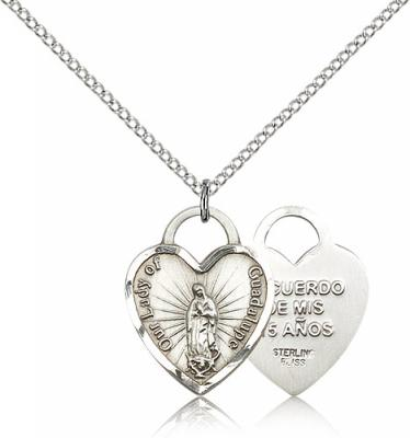 "Sterling Silver Our Lady of Guadalupe Heart Pendant, Sterling Silver Lite Curb Chain, 3/4"" x 5/8"""