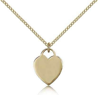 "Gold Filled Heart Pendant, Gold Filled Lite Curb Chain, 5/8"" x 1/2"""