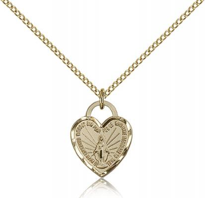 "Gold Filled Miraculous Heart Pendant, Gold Filled Lite Curb Chain, 5/8"" x 1/2"""