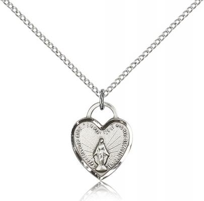 "Sterling Silver Miraculous Heart Pendant, Sterling Silver Lite Curb Chain, 5/8"" x 1/2"""