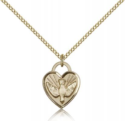 "Gold Filled Confirmation Heart Pendant, Gold Filled Lite Curb Chain, 5/8"" x 1/2"""