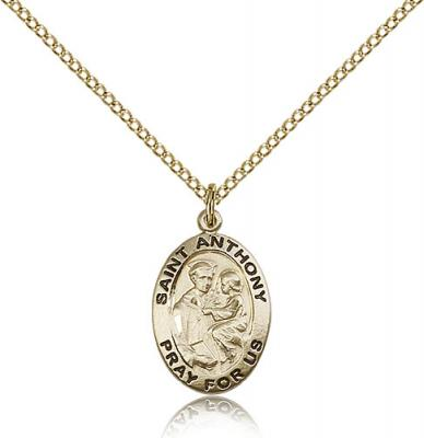 "Gold Filled St. Anthony of Padua Pendant, GF Lite Curb Chain, 3/4"" x 1/2"""