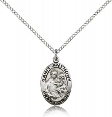 "Sterling Silver St. Anthony of Padua Pendant, Stainless Silver Lite Curb Chain, 3/4"" x 1/2"""