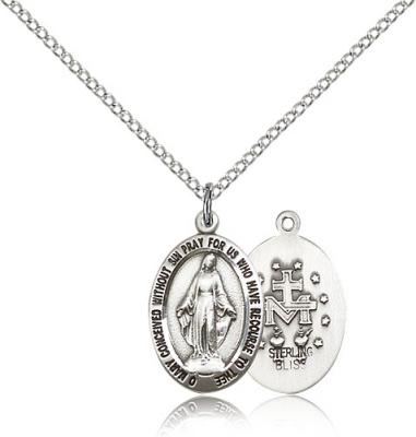 "Sterling Silver Miraculous Pendant, Stainless Silver Lite Curb Chain, 3/4"" x 1/2"""