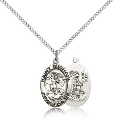 "Sterling Silver St. Michael the Archangel Pendant, Stainless Silver Lite Curb Chain, 3/4"" x 1/2"""