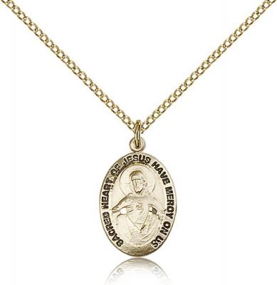 "Gold Filled Scapular Medal, GF Lite Curb Chain, 3/4"" x 3/8"""
