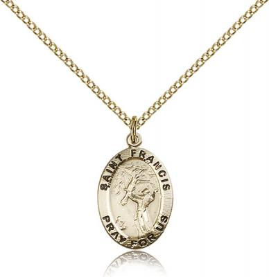 "Gold Filled St. Francis of Assisi Pendant, GF Lite Curb Chain, 3/4"" x 1/2"""