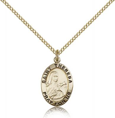 "Gold Filled St. Theresa Pendant, GF Lite Curb Chain, 3/4"" x 1/2"""