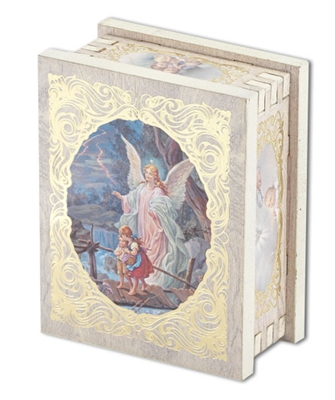GUARDIAN ANGEL NATURAL WOOD SQUARE WHITE ROSARY BOX