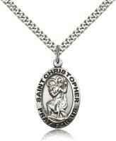"Sterling Silver St. Christopher Pendant, Stainless Silver Heavy Curb Chain, 1"" x 5/8"""
