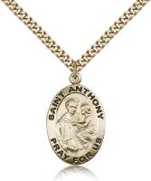 "Gold Filled St. Anthony of Padua Pendant, Stainless Gold Heavy Curb Chain, 1"" x 5/8"""