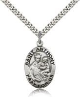 "Sterling Silver St. Anthony of Padua Pendant, Stainless Silver Heavy Curb Chain, 1"" x 5/8"""