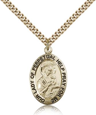 "Gold Filled Our Lady of Perpetual Help Pendant, Stainless Gold Heavy Curb Chain, 1"" x 5/8"""