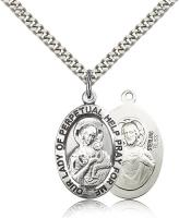 "Sterling Silver Our Lady of Perpetual Help Pendant, Stainless Silver Heavy Curb Chain, 1"" x 5/8"""