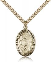 "Gold Filled St. Jude Pendant, Stainless Gold Heavy Curb Chain, 1"" x 5/8"""