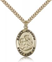 "Gold Filled St. Joseph Pendant, Stainless Gold Heavy Curb Chain, 1"" x 5/8"""