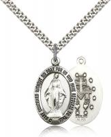 "Sterling Silver Miraculous Pendant, Stainless Silver Heavy Curb Chain, 1"" x 5/8"""