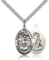 "Sterling Silver St. Michael the Archangel Pendant, Stainless Silver Heavy Curb Chain, 1"" x 5/8"""