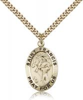 "Gold Filled St. Francis of Assisi Pendant, Stainless Gold Heavy Curb Chain, 1"" x 5/8"""