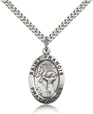 "Sterling Silver St. Francis of Assisi Pendant, Stainless Silver Heavy Curb Chain, 1"" x 5/8"""