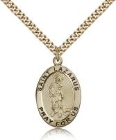 "Gold Filled St. Lazarus Pendant, Stainless Gold Heavy Curb Chain, 1"" x 5/8"""