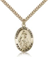 "Gold Filled Caridad Del Cobre Pendant, Stainless Gold Heavy Curb Chain, 1"" x 5/8"""