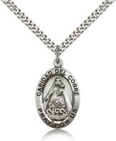 "Sterling Silver Caridad Del Cobre Pendant, Stainless Silver Heavy Curb Chain, 1"" x 5/8"""